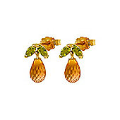 QP Jewellers Peridot & Citrine Petite Galanthus Stud Earrings in 14K Gold