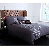 Pied A Terre Shadow Floral King Duvet Cover In Charcoal