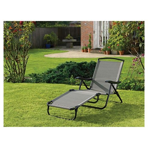 Tesco Waterproof Woven Textile Lounger with Arms