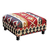 Homescapes Kilim Upholstered Multi Coloured Solid Wood Pouffe