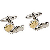 Gold and Silver Finish Football and Boot Novelty Themed Cufflinks