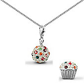 Jewelco London Sterling Silver Cubic Zirconia cup cake Charm Pendant - 18 inch Chain