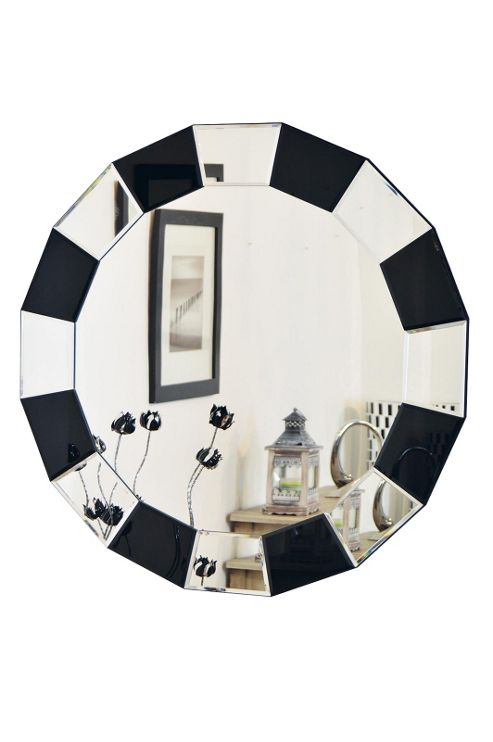 Buy large new modern black and silver round venetian wall for Black venetian mirror