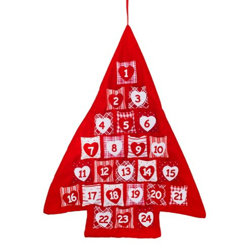 Red & White Hanging Fabric Christmas Tree Advent Calendar