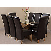 Valencia Glass & Oak 200 cm Dining Table with 8 Brown Montana Leather Chairs