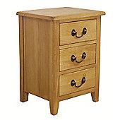 Nebraska Rustic Oak 3 Drawer Bedside Table