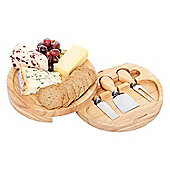 Occasion Round Hevea Cheese Board with Knife Storage and 3 Cheese Knives