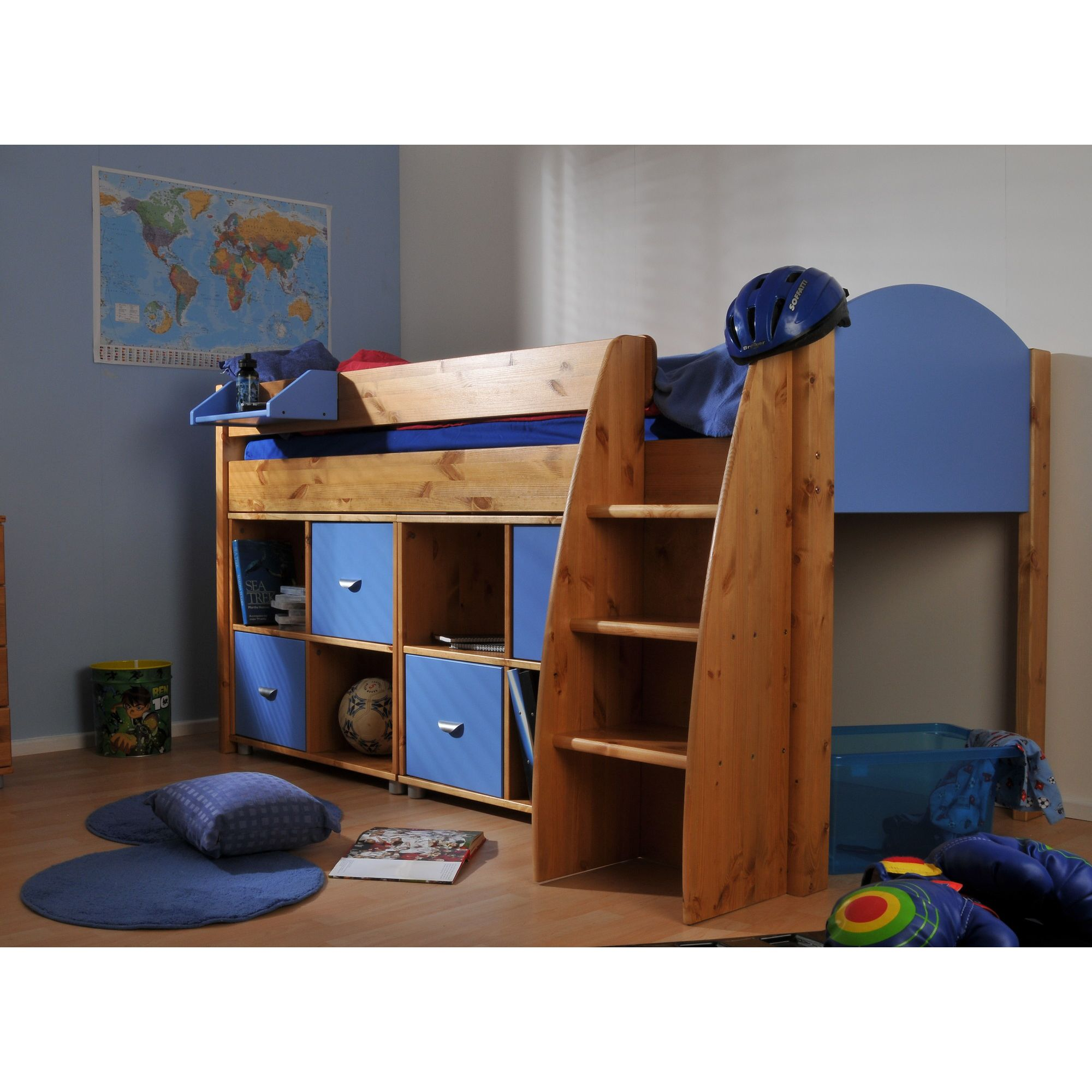 Stompa Rondo Mid Sleeper with 8 Cube Unit - Blue - White at Tesco Direct