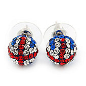 Swarovski Crystal Union Jack Ball Stud Earrings