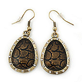 Vintage 'Cracked Effect' Diamante Teardrop Earrings In Burn Gold - 4.5cm Length
