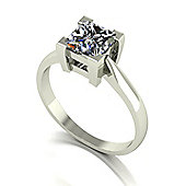 18ct White Gold 6.0mm Square Brilliant Moissanite Single Stone Ring