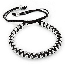 Plaited Black Silk Cord With Silver Tone Bead Friendship Bracelet - Adjustable