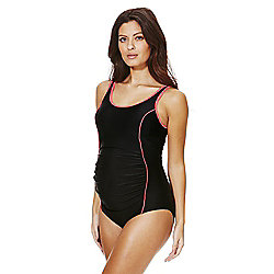 F&F Neon Piped Cross-Back Maternity Swimsuit 12 Black