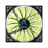 Aerocool Shark 12cm Quad Green LED Cooling Fan 15 Blade Fluid Dynamic Bearing 26.5 dBA Power / 12.6 dBA Silence Modes 1500 RPM / 800 RPM EN55697