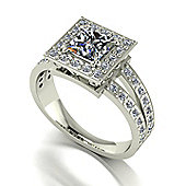 18ct White Gold 5.5mm Square Brilliant Moissanite Solitaire and Moissanite Set Shoulders Ring