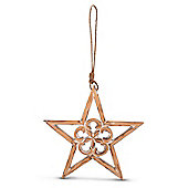 Hanging Wooden Rustic Finish Star Decoration In Large