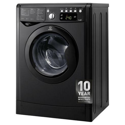Indesit IWDE7145K Washer Dryer, 7Kg Wash Load, 1400 RPM Spin, B Energy Rating, Black