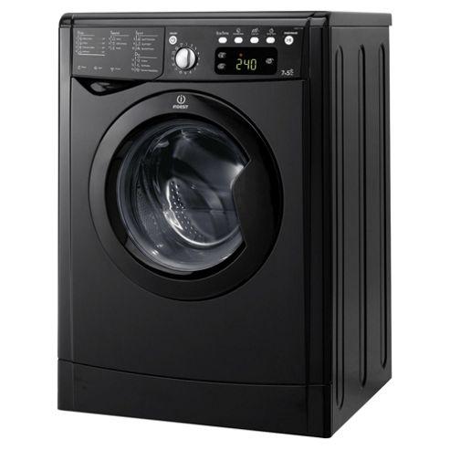 Indesit IWDE7145K, Freestanding Washer Dryer, 7Kg Wash Load, 1400 RPM Spin, B Energy Rating, Black