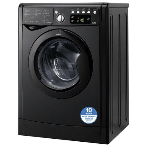 Indesit IWDE7145K Freestanding Washer Dryer, 7Kg Wash Load, B Energy Rating, Black