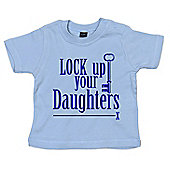 Dirty Fingers Lock up your Daughters Baby T-shirt - Blue