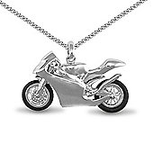 Jewelco London Rhodium Coated Sterling Silver motorcycle Charm Pendant - 18 inch Chain