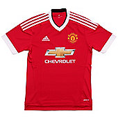 adidas Manchester United 2015/16 Mens Home Replica Jersey Shirt Red - Red