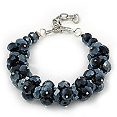 Mirrored Black Glass Cluster Bracelet In Silver Plating - 16cm Length/ 7cm Extension