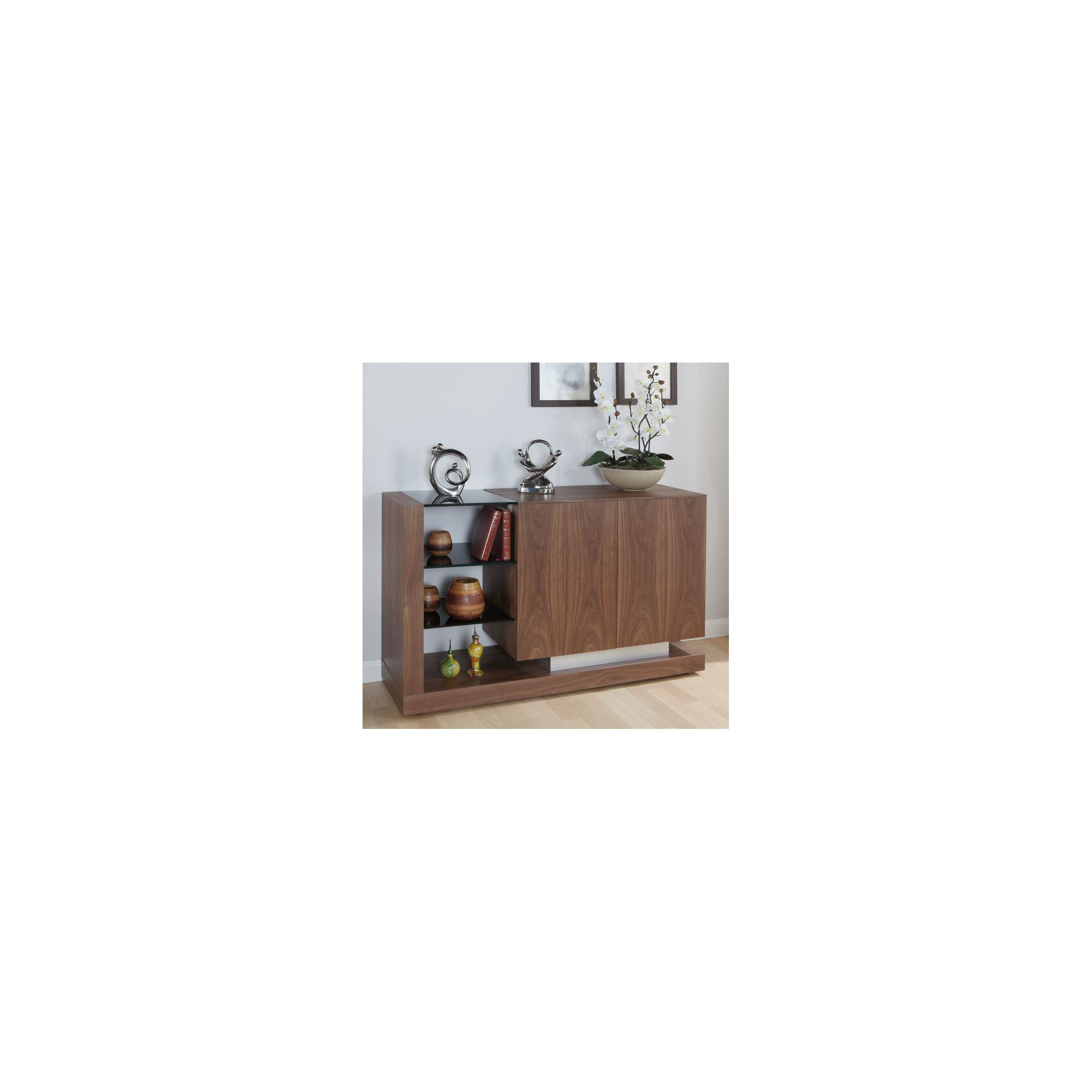 Jual Cube Sideboard with Open Shelving - Walnut - Black at Tesco Direct