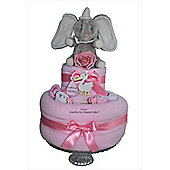 Baby Girl Pink Dumbo Elephant Nappy Cake Gift (Two Tier)