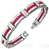 Urban Male Red Rubber & Stainless Steel Bracelet