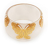 Wide Transparent White 'Butterfly' Chunky Resin Bangle - 19cm Length