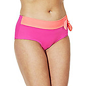 Marie Meili Curves Two-Tone Plus Size Bikini Shorts - Pink