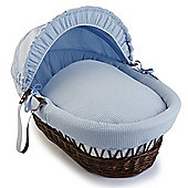Clair de Lune Dark Wicker Moses Basket (Soft Cotton Waffle Blue)