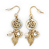 Gold Plated Flower, Leaf, Freshwater Pearl Drop Earrings - 45mm Length