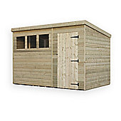 10ft x 8ft Pressure Treated T&G Pent Shed + 3 Windows + Single Door