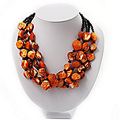 3 Strand Orange & Black Shell - Composite Bead Necklace - 40cm Length