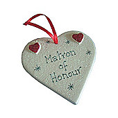 Matron of Honour Red Sparkle Heart - Large