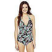 Marie Meili Pacifica Floral Print Halterneck Swimsuit - Black