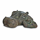 Floating Detailed Resin Mother and Child Hippo Head Ornament
