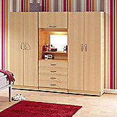 Ideal Furniture Bobby Triple Wardrobe with 4 Drawers - Beech