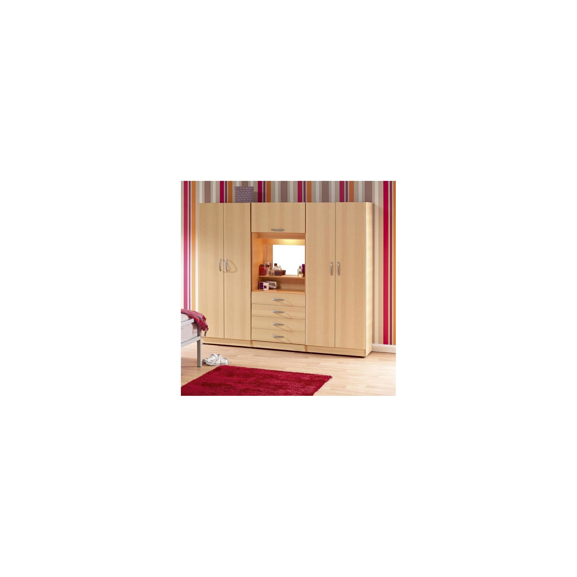 Ideal Furniture Bobby Triple Wardrobe with Four Drawers - Beech at Tesco Direct
