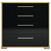 Modular Oak 4 Drawer Chest with Black Gloss Drawers