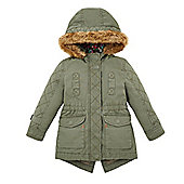 Mothercare Young Girl's Khaki Parka Jacket Size 18-24 months