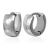 Urban Male Polished Finish Stainless Steel Men's Hinged Hoop Earrings
