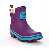 Evercreatures Ladies Short Wellies Purple With Turquoise Edging 6