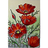Red Poppies Ceramic Wall Art by YH-Arts, 20cm x 30cm