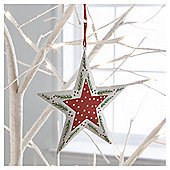 Gisela Graham Scandi Painted Tin Star Hanging Decoration, White Border