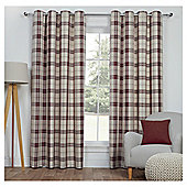 Woven Check Lined Eyelet Curtains - Red - 66 X 54