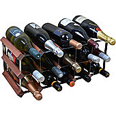 Harbour Housewares 15 Bottle Wine Rack - Fully Assembled - Dark Wood
