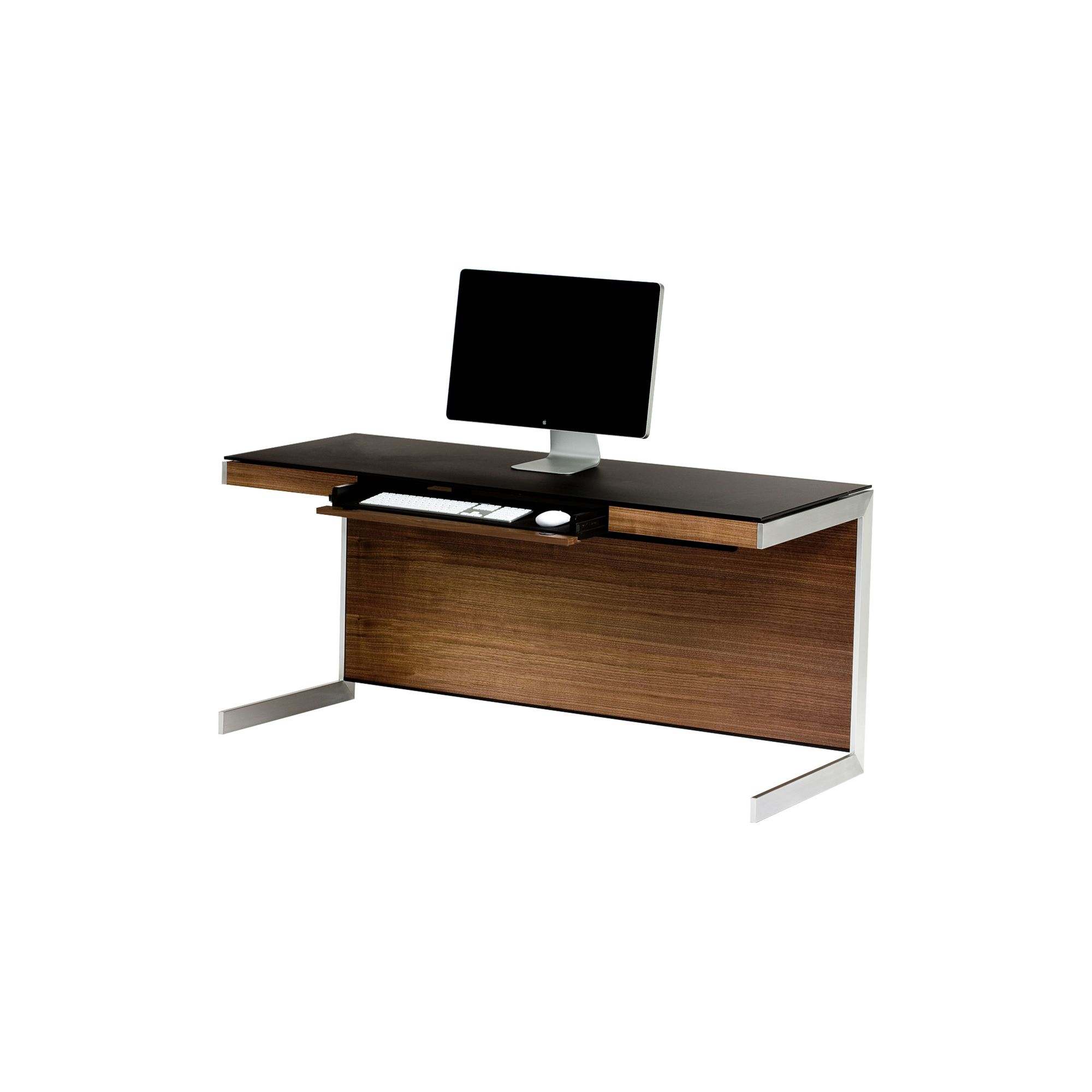 Sequel 6001 Desk in Natural Walnut with Glass Top at Tesco Direct